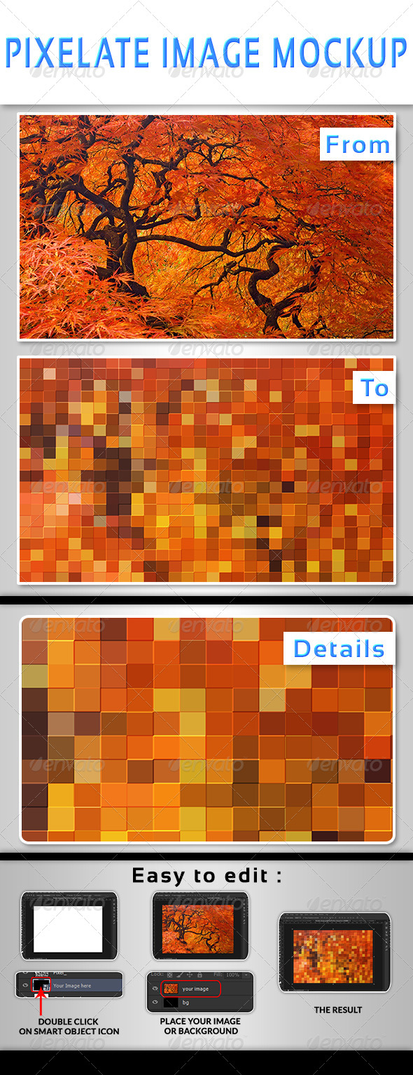Pixelate Image Mockup - Photo Templates Graphics