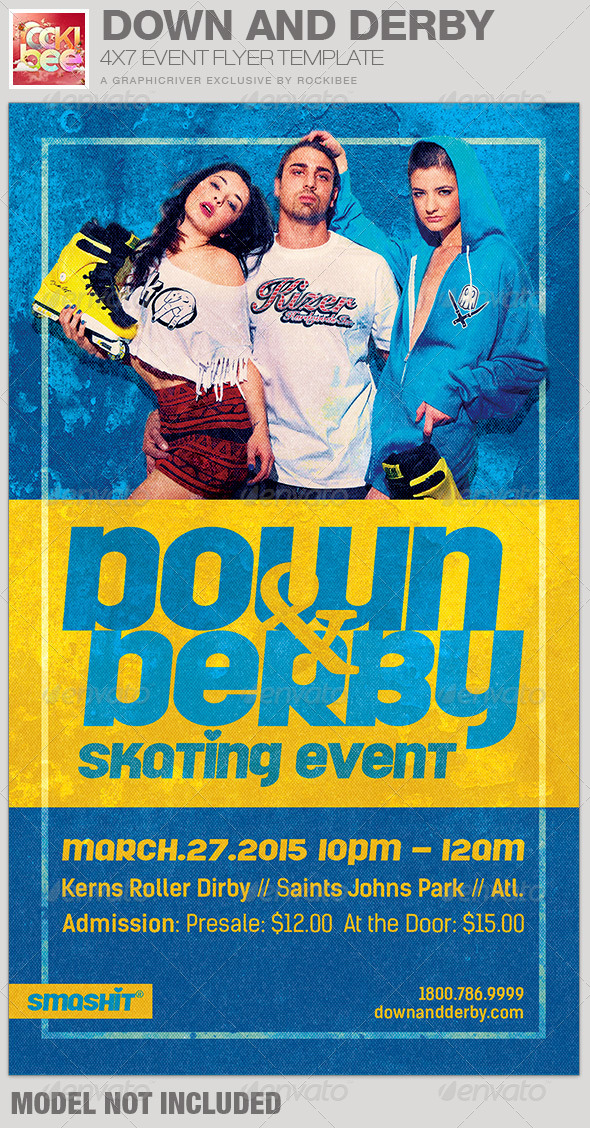 GraphicRiver Down and Derby Skating Event Flyer Template 6761909