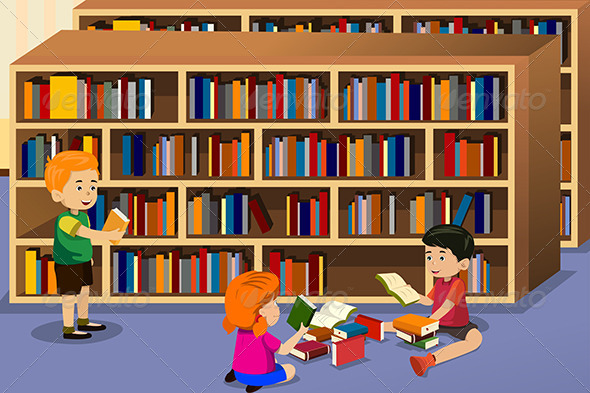 GraphicRiver Kids Reading a Book 6762138