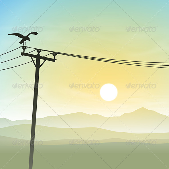 GraphicRiver A Bird on Telephone Lines 6762340
