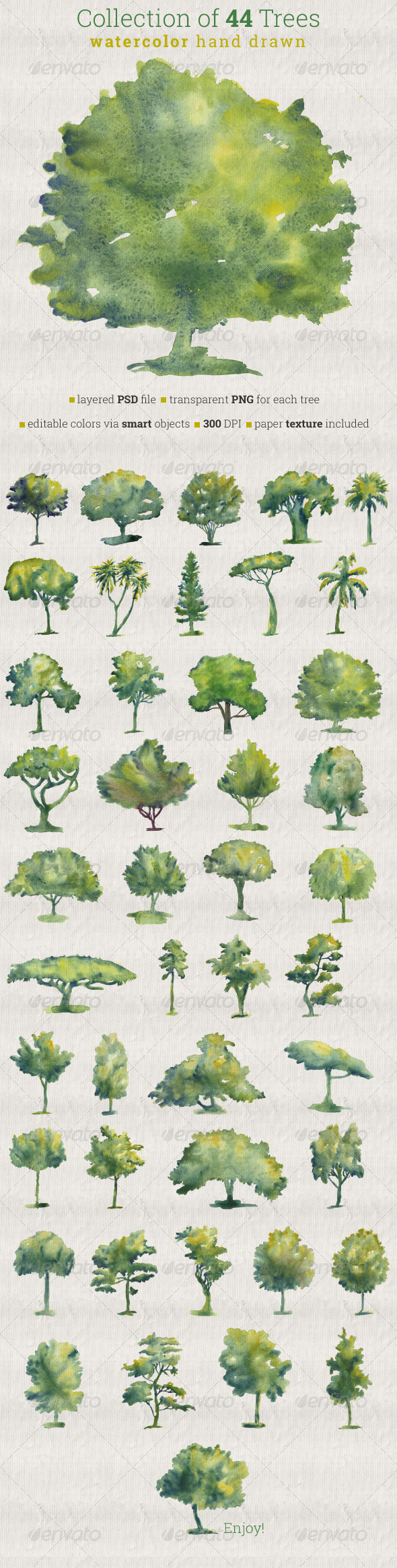 GraphicRiver Collection of 44 Watercolor Trees 6762350