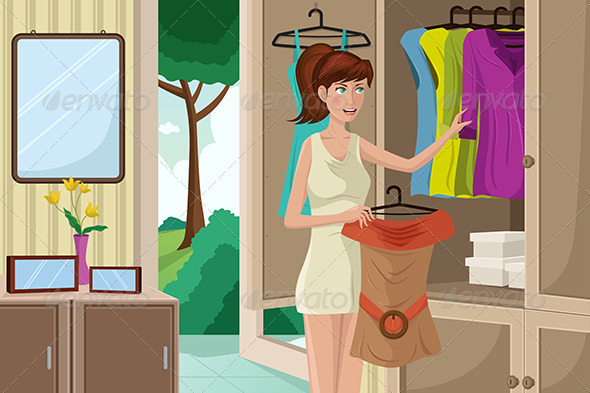 GraphicRiver Young Woman Selecting an Outfit 6762408