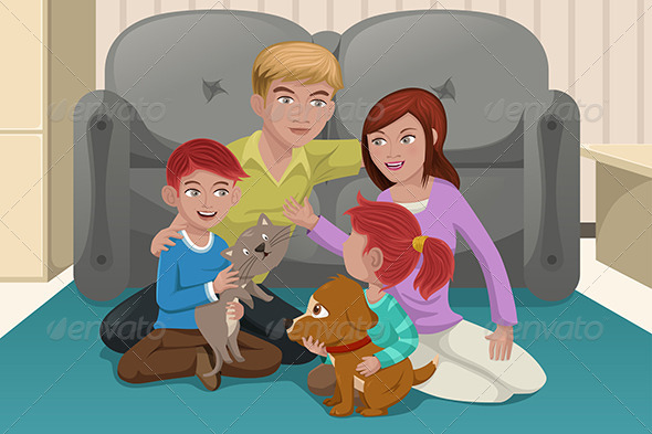 GraphicRiver Family with Pets 6763142