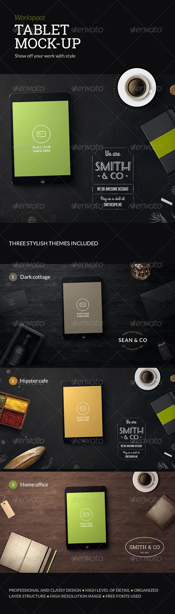 GraphicRiver Workspace Tablet Mock-up 6763187
