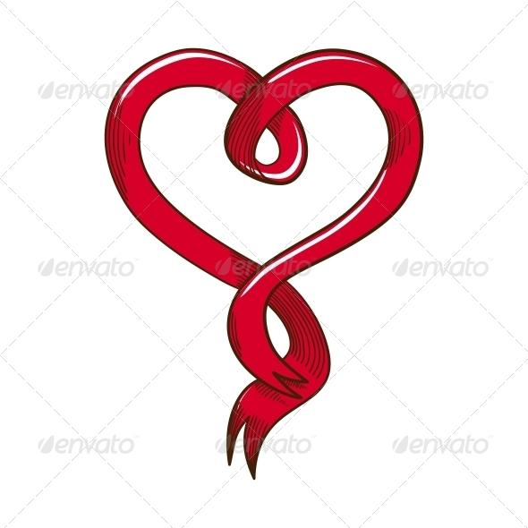 GraphicRiver Heart Ribbon 6763241