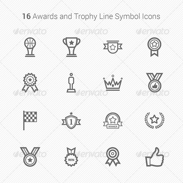 GraphicRiver 16 Awards & Trophy Line Symbol Icons 6763864