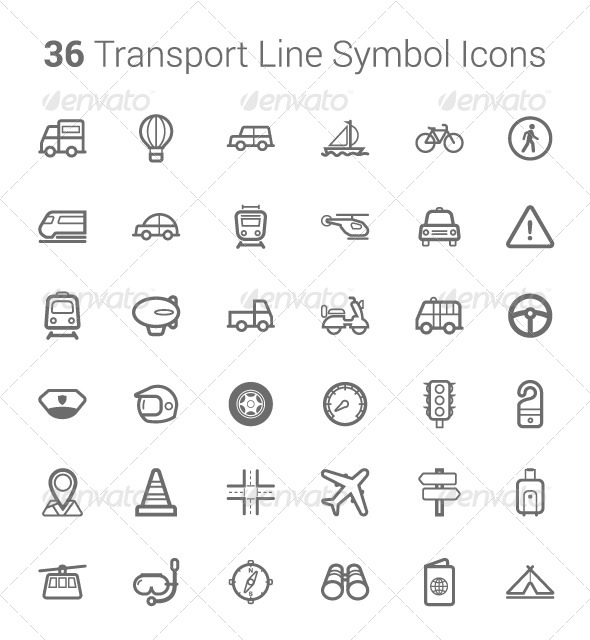 36 Transport & Travel Line Symbol Icons