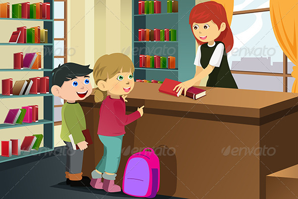 GraphicRiver Kids Borrowing Books in the Library 6764275