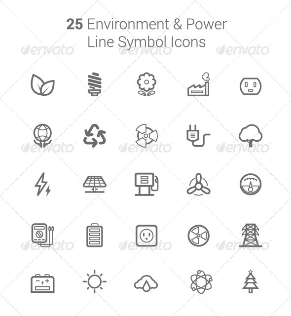 GraphicRiver 25 Environment and Power Line Symbol Icons 6764463