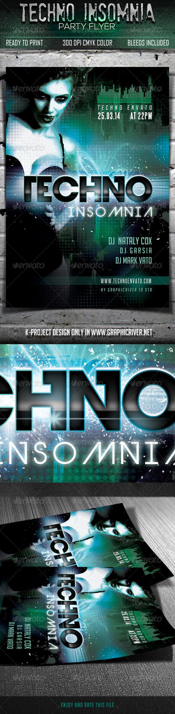 GraphicRiver Techno Insomnia Party Flyer 6757303