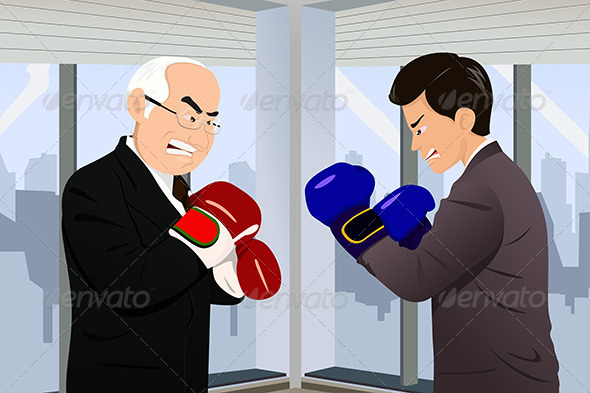 GraphicRiver Business Concept of Two Businessmen Fighting 6764542