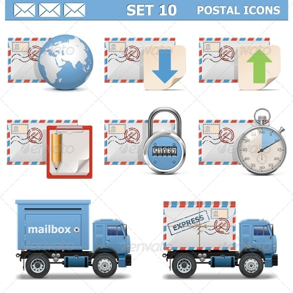 GraphicRiver Vector Postal Icons Set 10 6764755