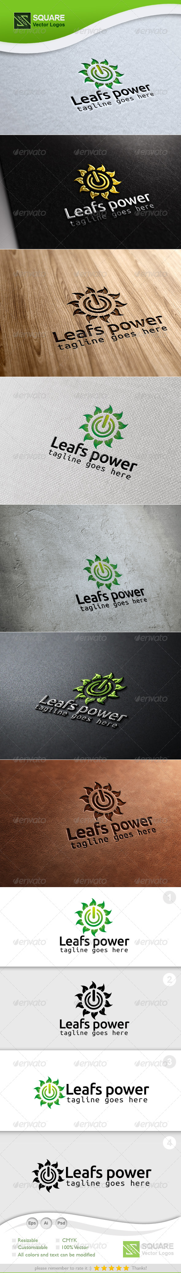 GraphicRiver Leafs Power Vector Logo Template 6764803