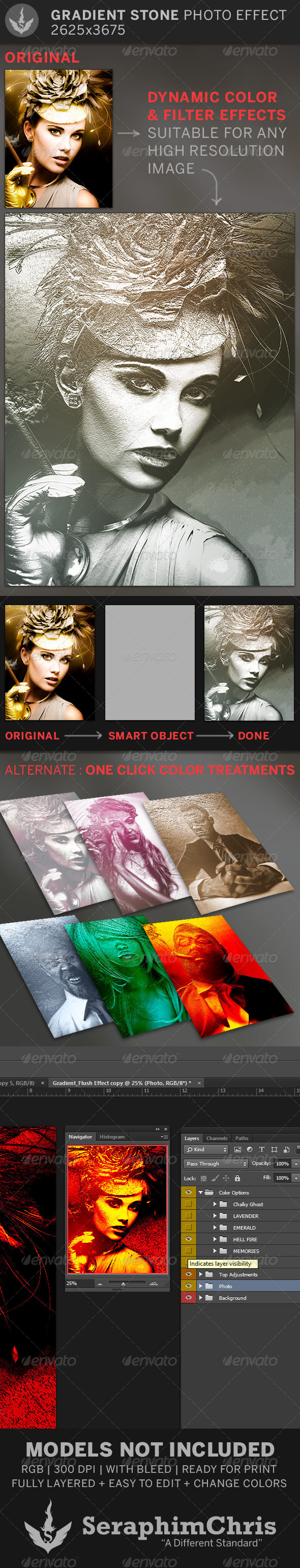 Gradient Stone Photo Effect Template - Artistic Photo Templates