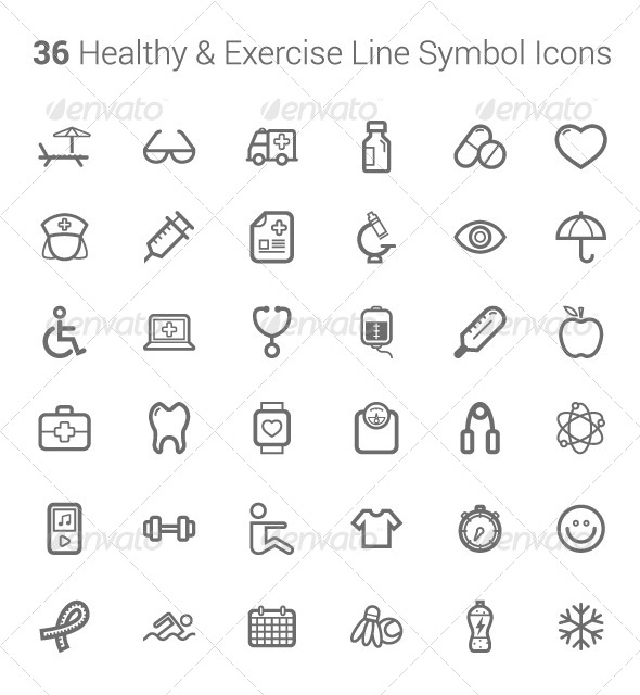 GraphicRiver Healthy and Exercise Line Symbol Icons 6764869