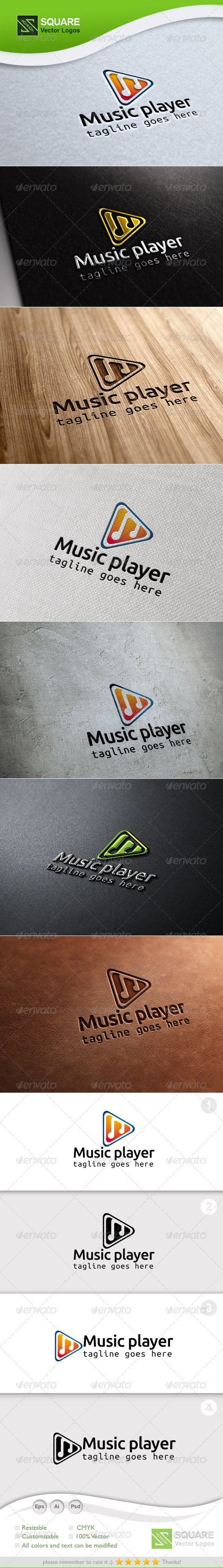 Music Play Vector Logo Template