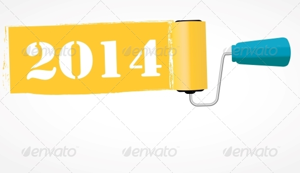 GraphicRiver Paint Roll 2014 New Year Background 6764959