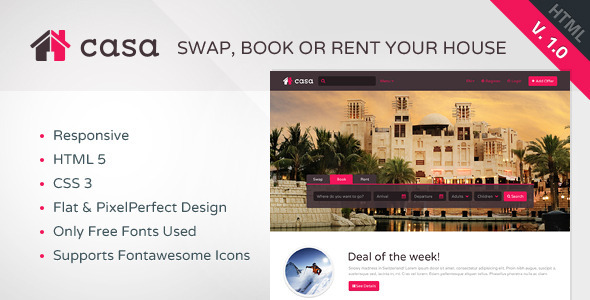 ThemeForest Casa Swap Book & Rent HTML Template 6703459