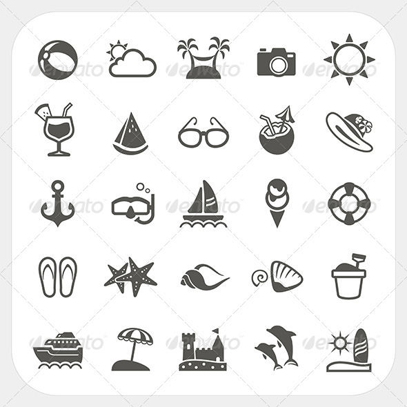 GraphicRiver Summer Vacation Icons Set 6765291