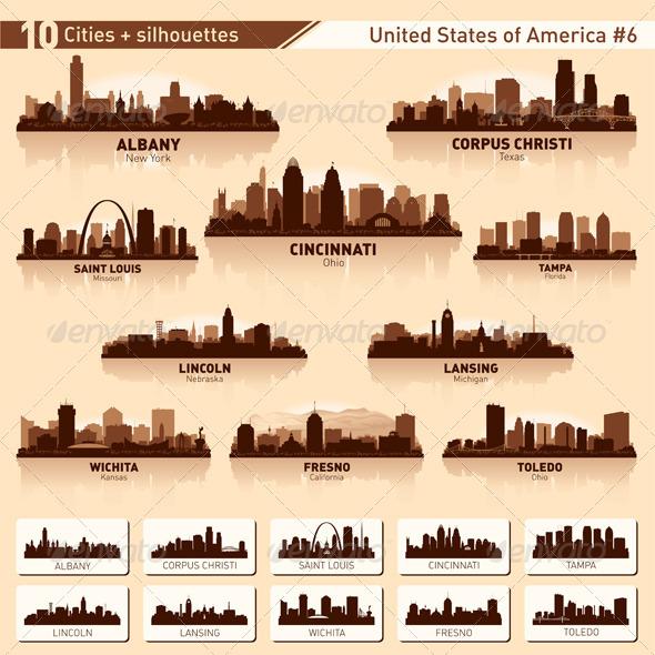GraphicRiver Skyline City Set 10 Cities of USA #6 6765614
