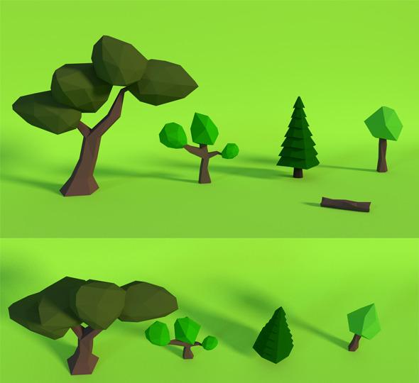 3DOcean LowPoly Trees Pack1 6766355