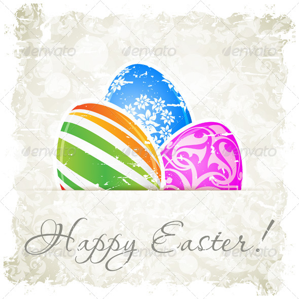 Grungy Easter Background with Decorated Eggs - Valentines Seasons/Holidays