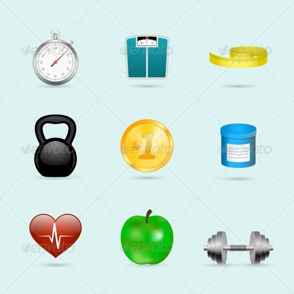 GraphicRiver Fitness Sport Icons Set 6766609