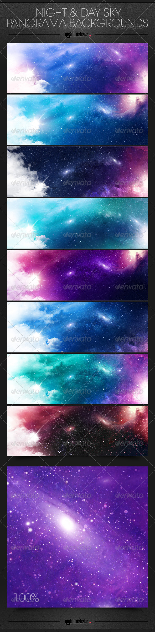 GraphicRiver Space Galaxy Night & Cloudy Day Panorama Backgroun 6766825