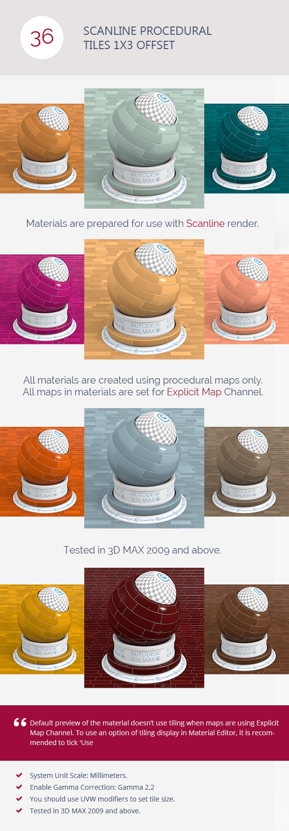 3DOcean Scanline Procedural Tiles 1x3 Offset 6766881