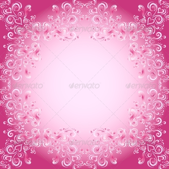 GraphicRiver Abstract Floral Background with Hearts in Pink 6766885