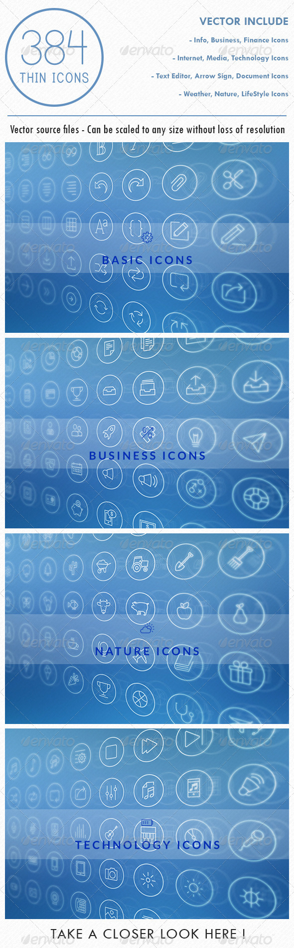 GraphicRiver 384 Vector Thin Icons 6766909