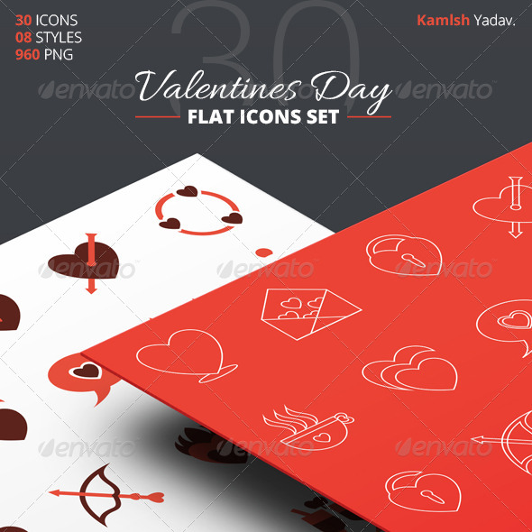 GraphicRiver 30 Flat Valentines Day Icon Set 6766991