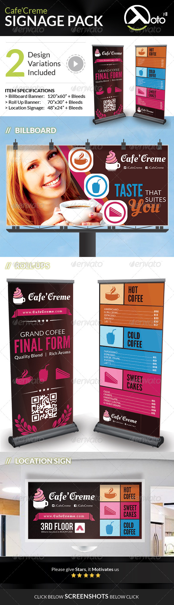 GraphicRiver Cafe Creme Signages Pack 6767004
