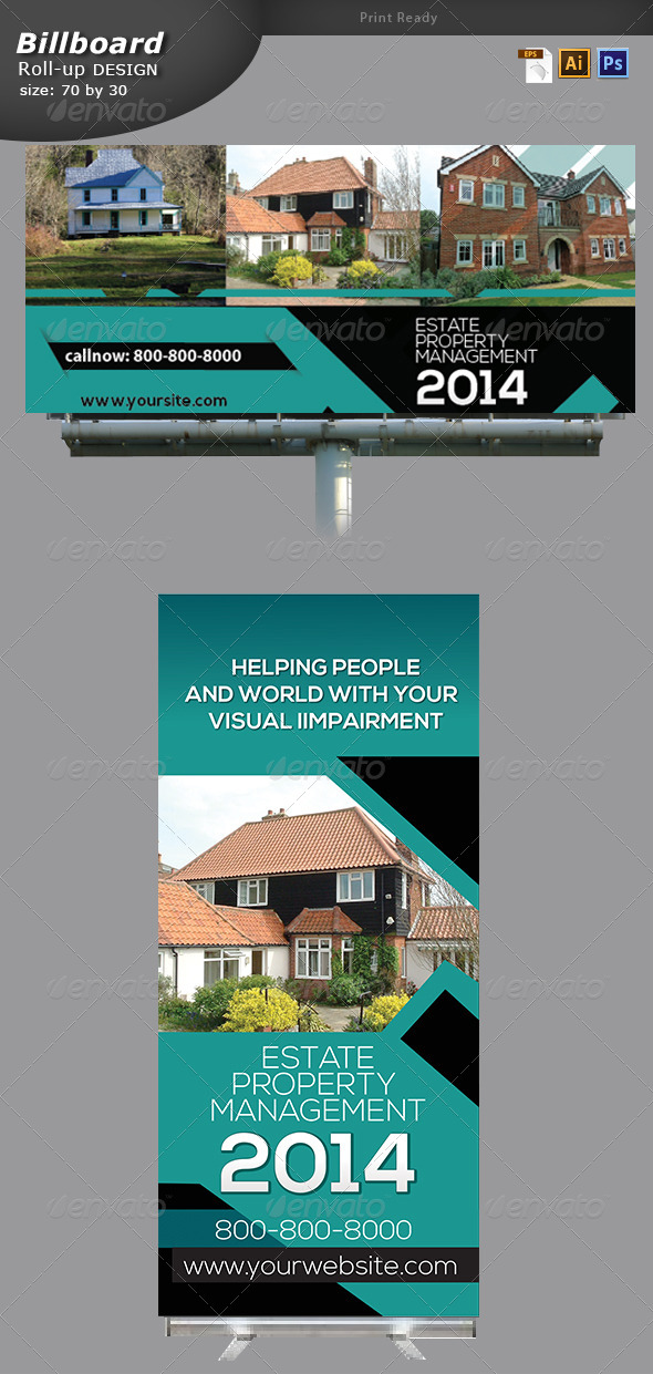 GraphicRiver Real Estate Billboard and Roll up Banner Design 6767107