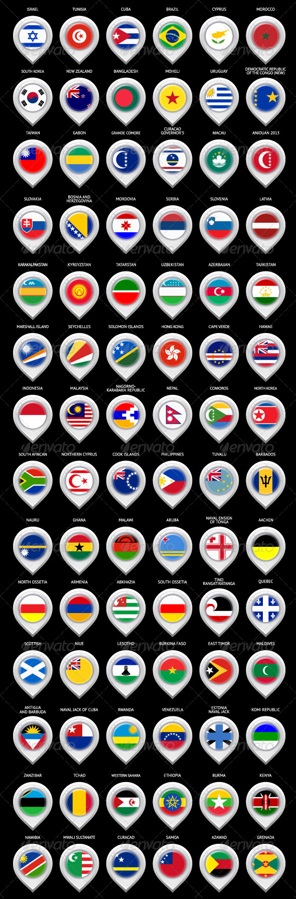 85 Map Markers Set with Flags