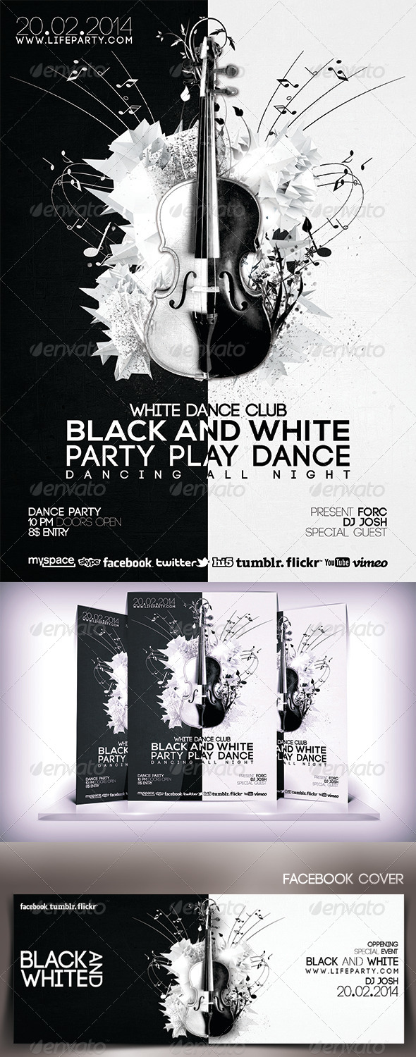 GraphicRiver Black and White Musical Party Flyer 6768740