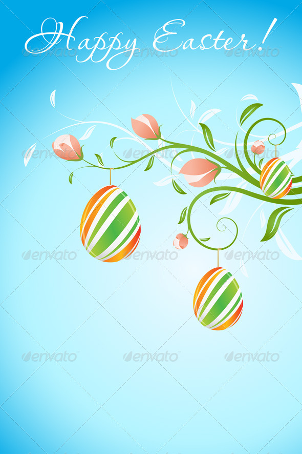 GraphicRiver Easter Background with Decorated Eggs 6768839