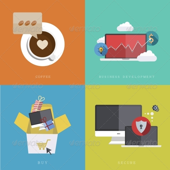 GraphicRiver Flat Modern Icons on Sample Background 6769081