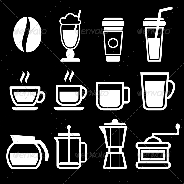 GraphicRiver White Coffee Drinks Icons 6769112