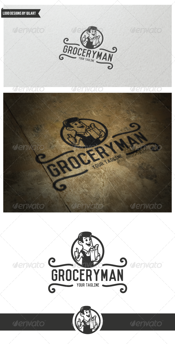 GraphicRiver Vintage Grocery Man Logo 6768532
