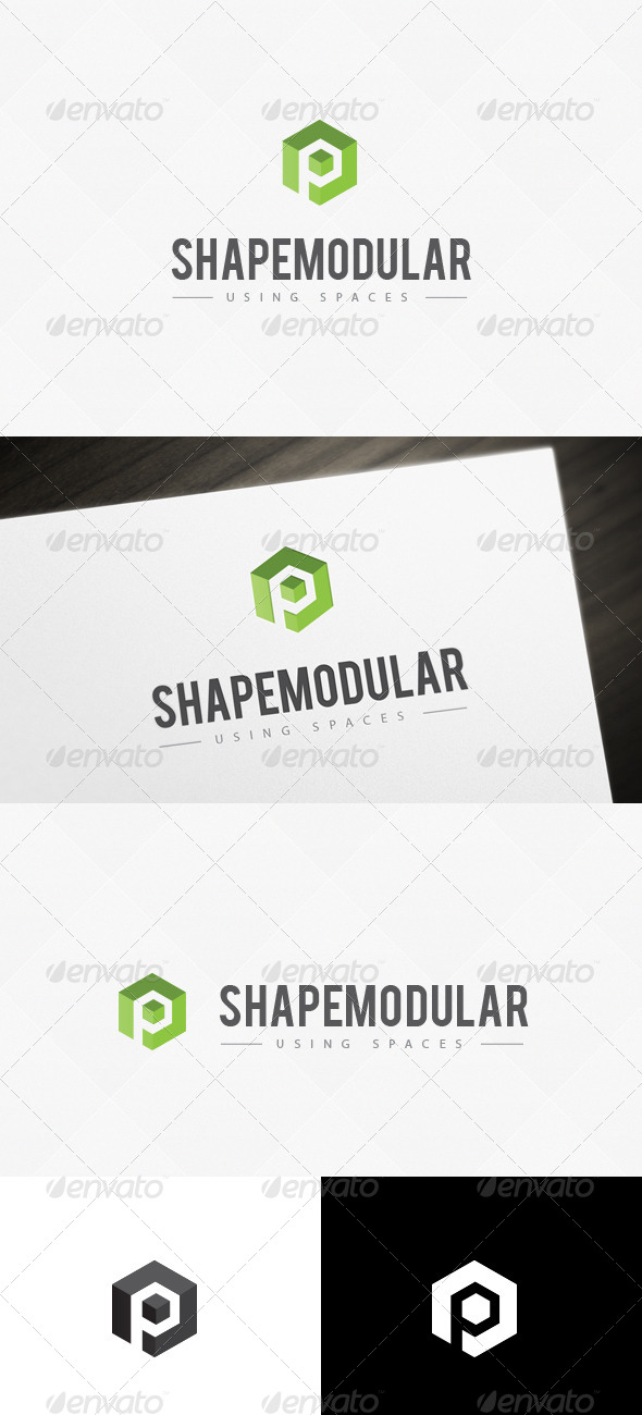 GraphicRiver Module Space P Letter Logo Template 6768068