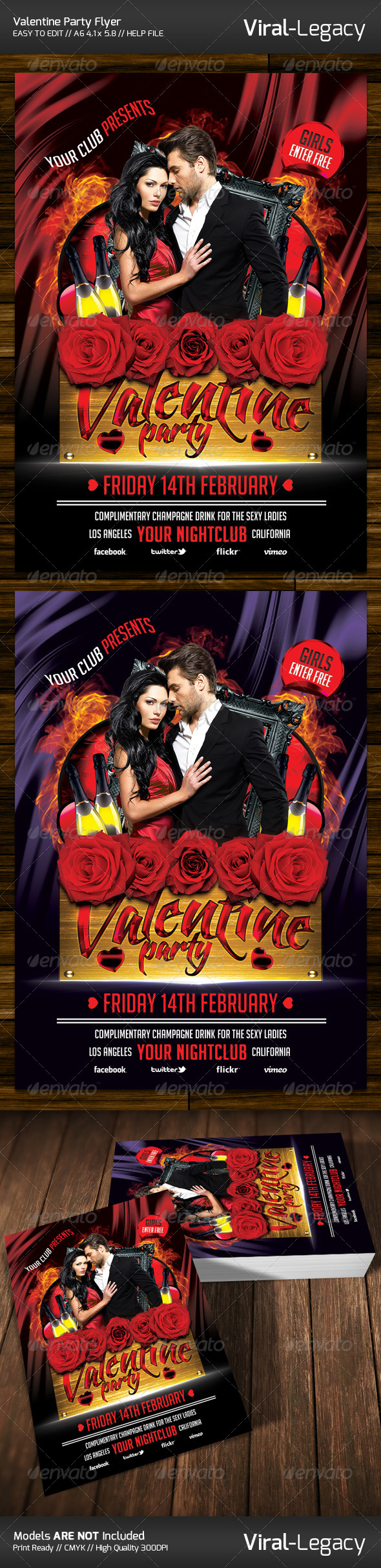 Valentine Party Flyer - Flyers Print Templates