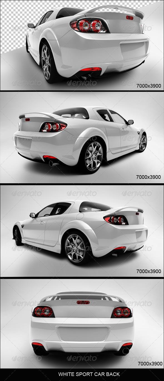 White Sport Car Back