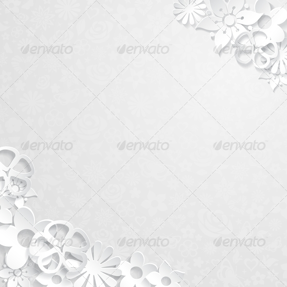 GraphicRiver Floral Background with Paper Flowers 6770429