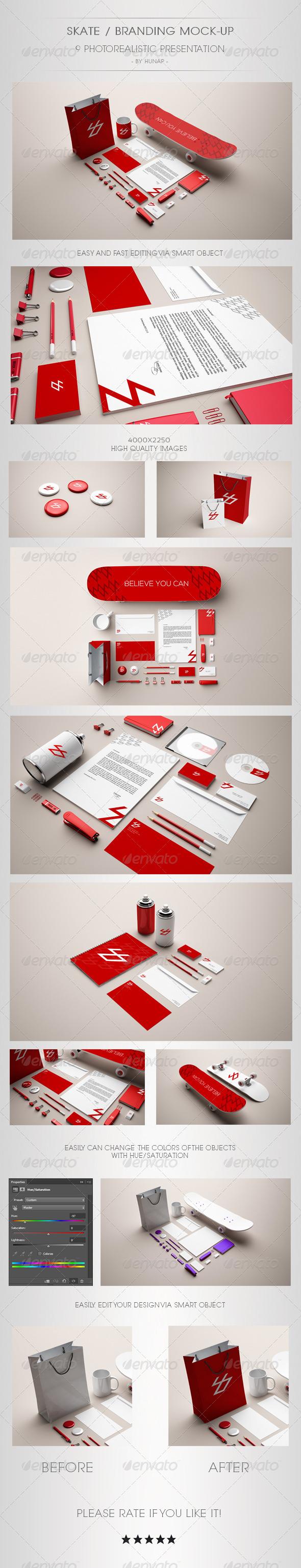 GraphicRiver Skate Stationery Branding Mock Up 6770654