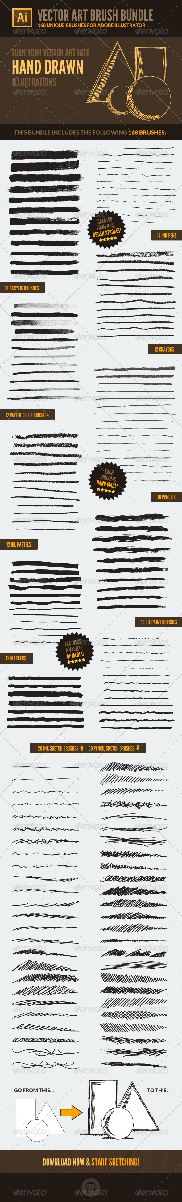 168 Vector Art Brushes - Bundle - Artistic Brushes