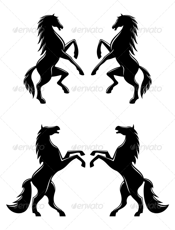 GraphicRiver Silhouettes of Horses 6770723