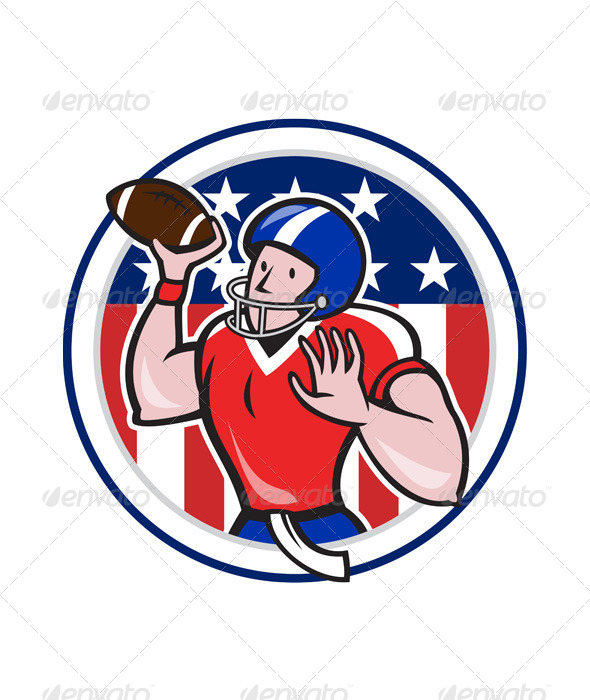 GraphicRiver Football Quarterback Throwing Circle Cartoon 6770795