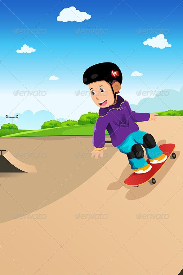 GraphicRiver Kids Playing Skateboard 6770800