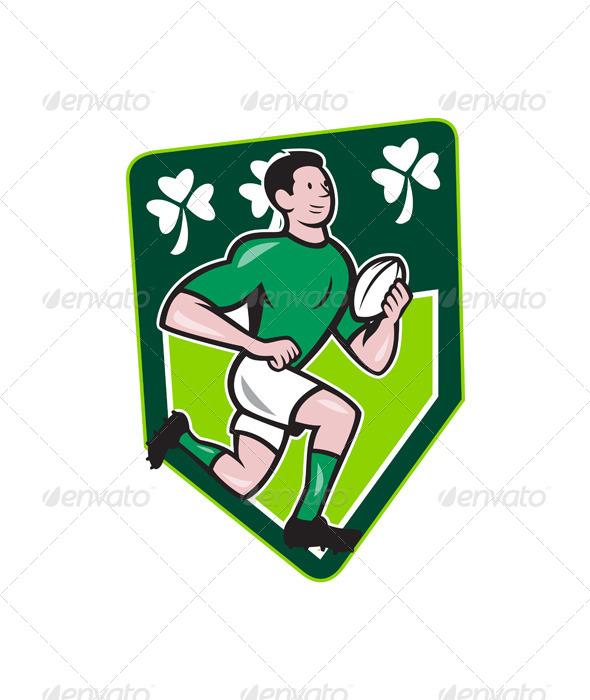 GraphicRiver Irish Rugby Player Running Ball Shield Cartoon 6770855